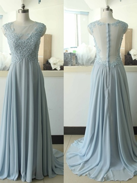 Ericdress A-Line Scoop Cap Sleeves Appliques Beading Floor-Length Evening Dress