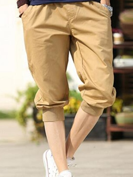 Ericdress Solid Color Lace-Up Casual Men's Pencil Shorts