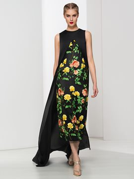 Ericdress Jewel Neck Asymmetrical Print Evening Dress