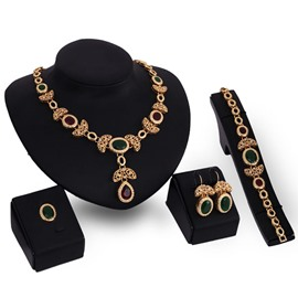 Red Turquoise Golden Four-Piece Jewelry Set