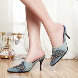 Ericdress Retro Rivets Point Toe Mules Shoes