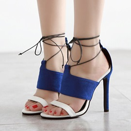 Ericdress Suede Patchwork Lace-Up Stiletto Sandals