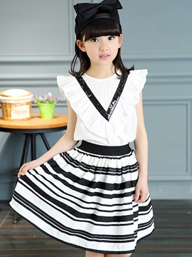 Ericdress Stripe Girls Skirt Outfit