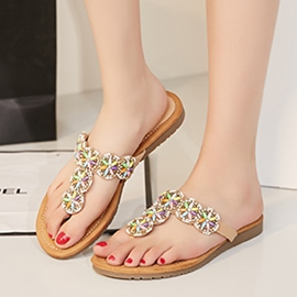 Ericdress Beaded Thong Beach Sandals
