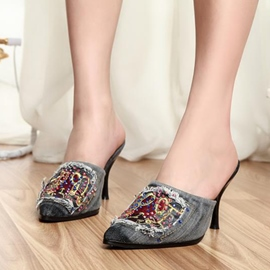 Ericdress Denim Jewelled Point Toe Mules Shoes
