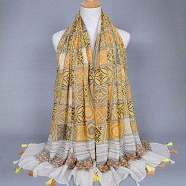 Ericdress Ethnic Tassel Cotton Scarf