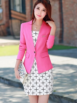 Ericdress Solid Color One Button Simple Blazer