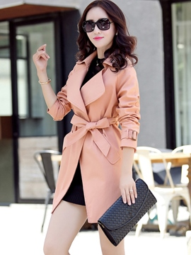 Ericdress Elegant Big Lapel Lace-Up Coat