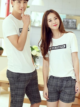 Ericdress Plaid Shorts Couple Suits