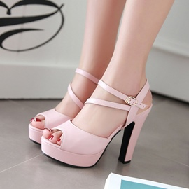 Ericdress Solid Color OL Peep Toe Chunky Sandals