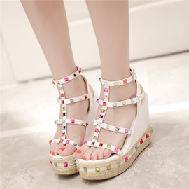 Ericdress Colorful Rivets Wedge Sandals