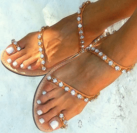 Ericdress Toe Ring Rhinestone Flat Sandals
