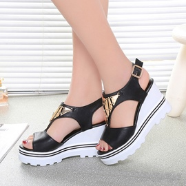 Ericdress Chic Metal Decorated Wedge Sandals