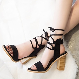 Ericdress Open Toe Lace-Up Chunky Sandals