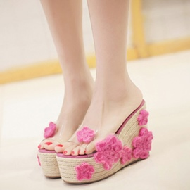 Ericdress Transparent Flower Decorated Wedge Mules Shoes