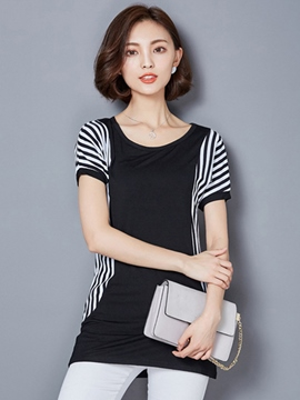 Ericdress Color Block Stripped Slim T-Shirt