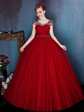 Ericdress Scoop Ball Gown Beading Pearls Pleats Floor-Length Quinceanera Dress