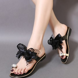 Ericdress Lace Bowtie Flat Sandals