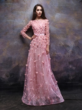 Ericdress A-Line Long Sleeves Bateau Appliques Beading Lace Evening Dress