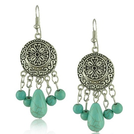 Ericdress Bohemian Vintage Carving Turquoise Earrings