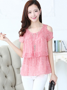 Ericdress Slim Off-Shoulder Casual Blouse