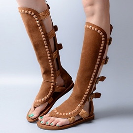 Ericdress Roman Ethnic Rivets Knee High Flat Sandals