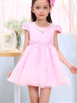 Ericdress Short Sleeve Plain Girls Dress