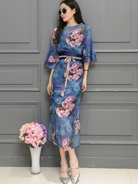 Ericdress Flower Print Flare Sleeve Patchwork Maxi Dress