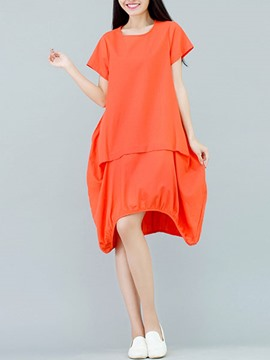 Ericdress Mori Girl Asymmetric Plain Casual Dress