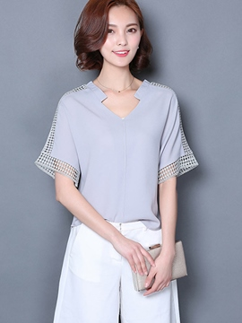 Ericdress Loose Casual Hollow Chiffon Blouse