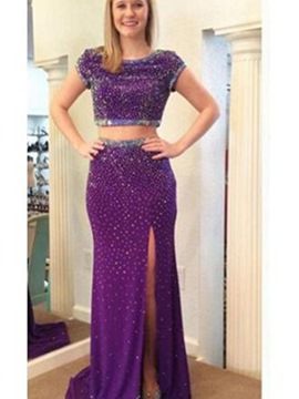 Ericdress Short Sleeves Sheath Scoop Beading Split-Front Floor-Length Prom Dress
