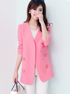 Ericdress Simple Double-Breasted Blazer