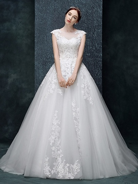 Ericdress Beautiful Appliques Ball Gown Backless Wedding Dress