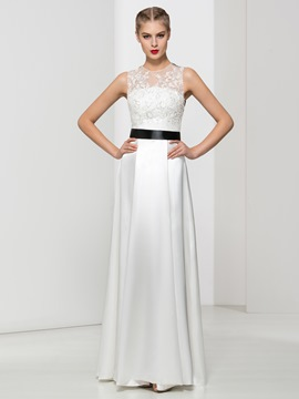 Ericdress Jewel Neck A-Line Appliques Bowknot Sashes Sequins Prom Dress