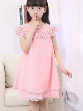 Ericdress Lace Patchwork Plain Girls Dress