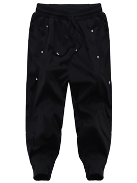 Ericdress Black Loose Sports Rivet Casual Men's Pants