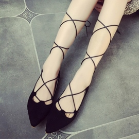 Ericdress Roman Point Toe Lace up Flats
