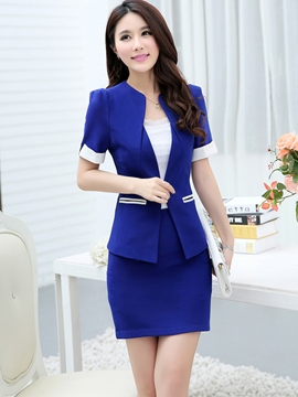 Ericdress Color Block OL Short Sleeve Blazer Suit