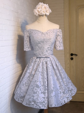 Ericdress A-Line Off-the-Shoulder Lace Sashes Short Homecoming Dress