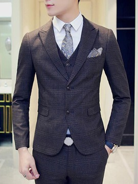 Ericdress Three-Piece of Plaid Slim Men's Suit