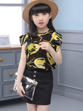 Ericdress Print Girls Skirt Outfit