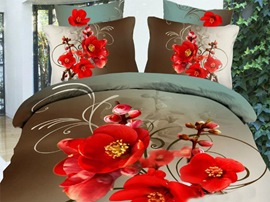 Ericdress Red Plum Blossom Print 3D Bedding Sets