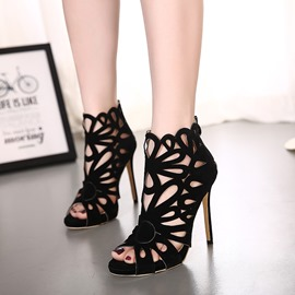 Ericdress Suede Cut Out Stiletto Sandals