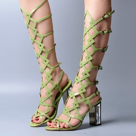 Ericdress Roman Cut Out Cross Strap Knee High Chunky Sandals