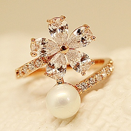 Ericdress Beautiful Flower Zircon Design Ring