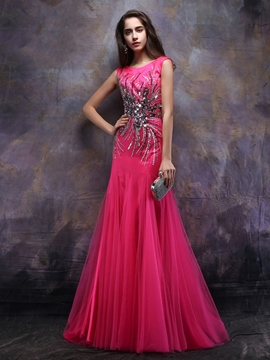 Ericdress A-Line Bateau Beading Sequins Floor-Length Evening Dress