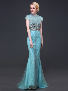 Ericdress Cap Sleeves High Neck Trumpet Beaded Sequins Sweep Train Evening Dress