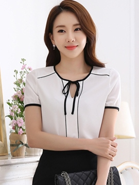 Ericdress Slim Lace-Up Color Block Blouse