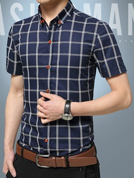 Ericdress Short Sleeve Grid Slim Men's Shirt