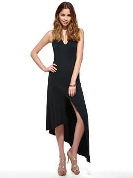 Ericdress Plain Asymmetrical Little Black Dress